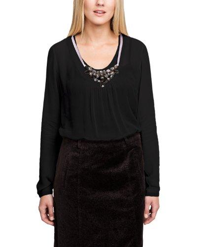 Comma Blouse Manches longues Semi-transparent Femme Noir - Schwarz (9999 black)