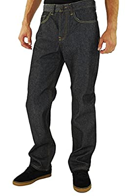 Kayden K Men's 2Tone Stitch Classic Fit Jeans Black