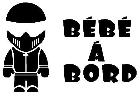 MOTARD MOTO Bébé à Bord NOIR par i-Sticker 20cm autocollant pour voiture vitre arrière