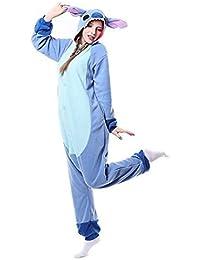 Pijama de invierno de una pieza, diseño Stitch azul, unisex, para adultos, de franela, color Blue New Stitch, tamaño extra-large