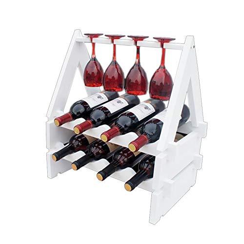 TIDLT 10 Flaschen Massivholz Weinregal, Weinglashalter (Farbe : Weiß)
