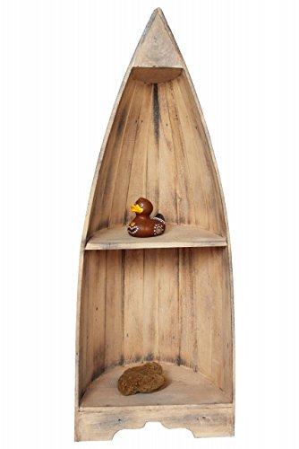 Naturesco Bootsregal Regal Boot Bootsform massiv Holz maritim antik weiss 95cm