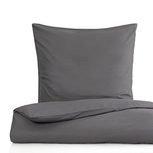 Lumaland Premium Bettwäsche Everyday Ganzjahres Bettbezug YKK Reißverschluss 155 x 220 cm Kissenbezug 80x80cm Anthrazit