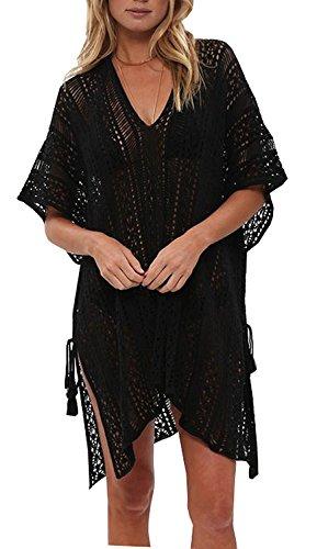 Walant Femmes Dentelle Crochet Blouse Maillot de Bain Taille Tunique Kimono Bohême Bikini Poncho Plage Cache-Maillots Robes de Plage Cover Up