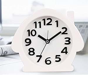 KHSKX Réveils créatives de l'étudiant, silent night horloge opto-électroniques, dessin animé chevet réveil, montre infirmiere enfants paresseux, white