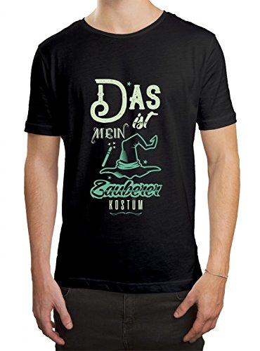 Verkleidung Zauberer Premium T-Shirt | Kostüm | Karneval | Fasching | Herren | Shirt Schwarz (Deep Black L190)