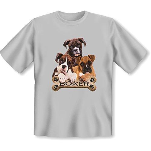 Hunde - Damen und Herren T-Shirt mit dem Motiv: boxers with bone Größe: Farbe: grau - von van Petersen Shirts Grau