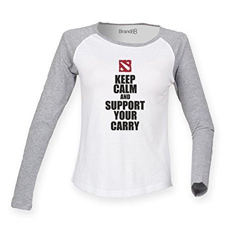 Brand88 - Support Your Carry Damen Langarm Baseball T-Shirt Weiss & Grau