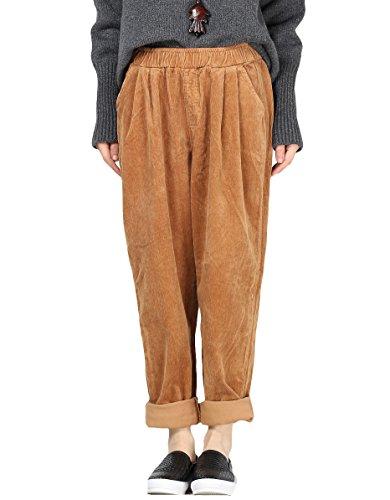 MatchLife Femmes Velours Côtelé Pantalons avec Poches Chameau