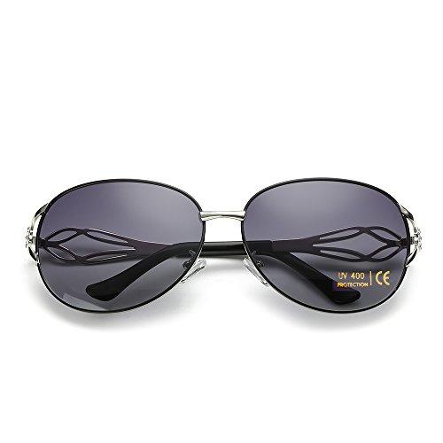 VeBrellen Damen Polarisierten Sonnenbrillen Driving Gläser Eyewear Schutzbrillen Blumen Dekoration (Schwarz, 62) (Schwarze Blume Sonnenbrille)