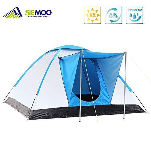 Semoo Familienzelt, Wasserdichte und UV-Schutz Iglu-Zelt, Silber beschichtete Faser, Camping Zelt für 3 Personen