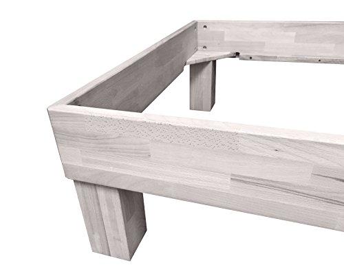 SAM® Massiv-Holzbett Jessica in Buche weiß, Bett mit geteiltem Kopfteil, natürliche Maserung, massive widerstandsfähige Oberfläche in edlem Weißton, 120 x 200 cm - 3