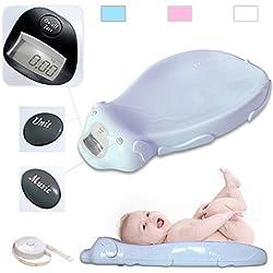 Todeco - Pèse Bébé, Balance Éléctrique pour Bébé - Dimensions: 65,4 x 33,2 x 11,6 cm - Charge maximale: 20 kg - Bleu