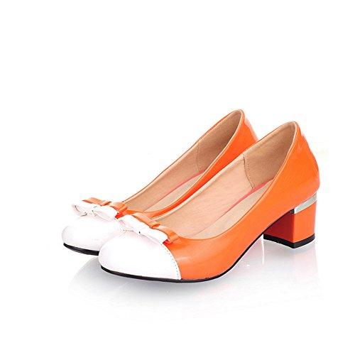 Cuckoo Frauen 5cm Chunky Mid Heel Pumps Orange