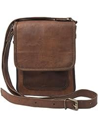 Anshika International Original Leather Vertical Sling Bag Brown 9 X 7 X 3 Inches