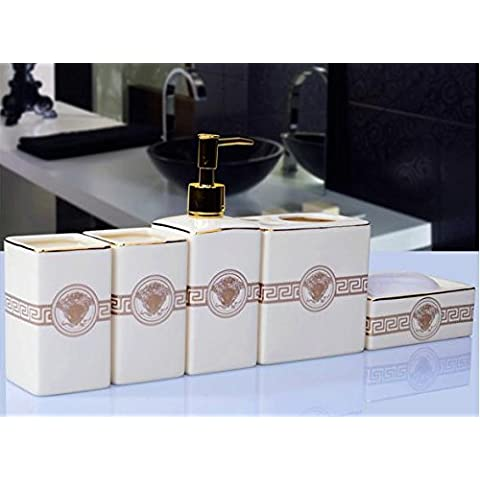 NHD-PCs continental ceramic bathroom set-bathroom creative fashion gift new housewarming gift - Rosa Lucido Gift Box