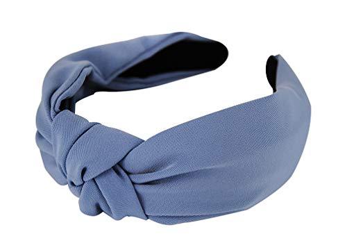 axy HR35 Stoff Haarreif mit Knoten-Vintage-Wunderschön Stirnband Haarschmuck (Blau)