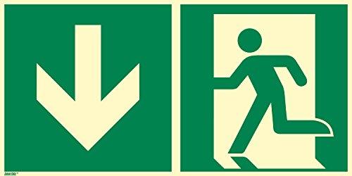 Rettungszeichen Schild, Notausgang, Aluminium langnachleuchtend, 400 x 200 mm gemäß ASR A1.3/ISO 7010