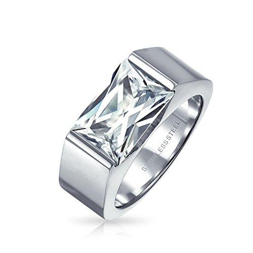 Bling Jewelry Geometrische 4 Ct Quadrat Zirkonia Emerald Cut Cz Herren Verlobungsring Für Herren Edelstahl (Ring Emerald Herren)
