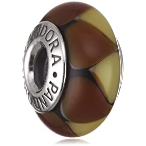 Pandora Damen-Bead Sterling-Silber 925 Muranoglaskugel, braun Ocker Kasi 79638