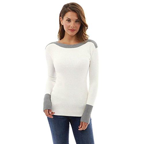 Elecenty Damen Pullover Bluse Jumper Hemd Tops Rundhals Frauen Sweatshirts Kapuzenpullis Mode Beiläufig Hemden Pulli Blusen Sexy Outerwear T-Shirt Top Blusentop (XL, Weiß)