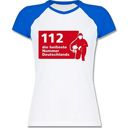 Feuerwehr - 112 die heißeste Nummer der Stadt - zweifarbiges Baseballshirt / Raglan T-Shirt für Damen Weiß/Royalblau