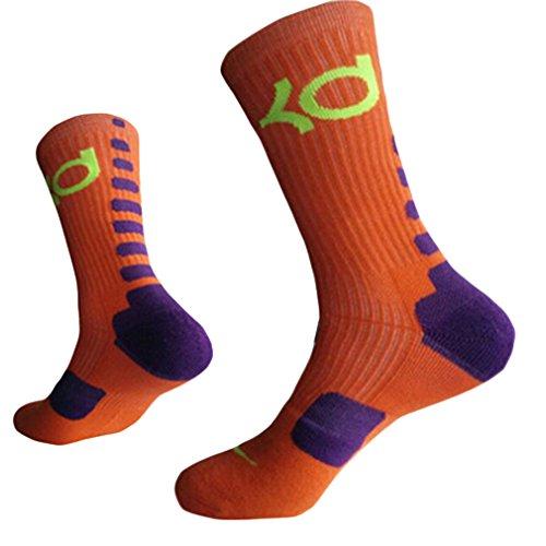 HENGSONG Men Boy Sports Socks Basketball Football Fitness Cotton Cushioned Athletic Long Socks (Orange)