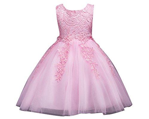 Ragazze pizzo tulle vestito lungo bambina elegante principessa abito cerimonia abiti da sera matrimonio pink 120cm/5-6anni