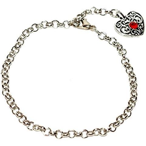 5x chapada en plata envejecida enlace pulsera con filigrana del encanto del corazón y rojo cristal adornos ~ Just Say cuentas