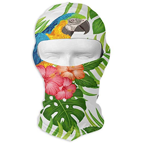 Gxdchfj Tropical Floral Macaw Parrots Winter Tactical Full Face Mask Sun Protection Balaclava Hood for Men and Women (Head Parrot Gear)