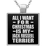 All I Want For Christmas Is My Jack Russell Terrier - Square Necklace Black / One Size, Pendentif Charme Plaqué Argent avec Collier, Cadeau pour Anniversaire, Noël