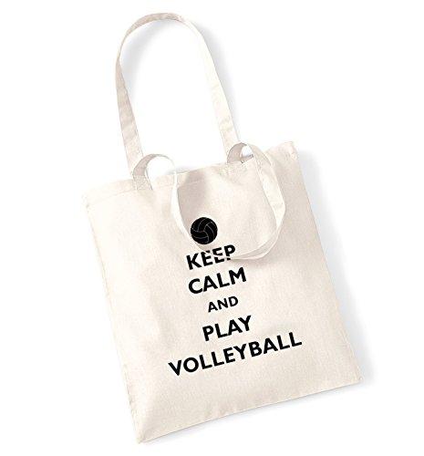Keep Calm And Play Volleyball Borsa Natural