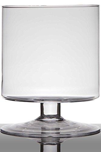 INNA-Glas Pot de Fleurs en Verre Lilian sur Pied, Cylindre - Rond, Transparent, 24cm, Ø 19cm - Photophore en Verre - Cache-Pot Transparent