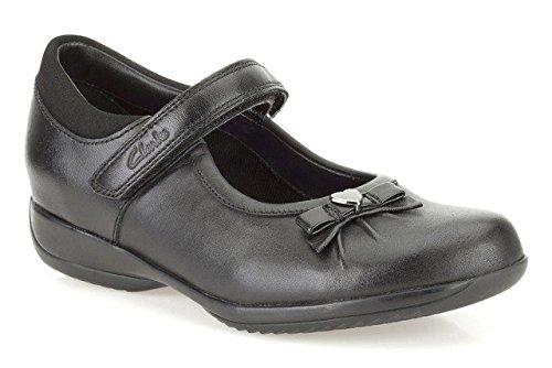 Clarks Des Mädchens Daisy Glanz Schule Schuh Inf Black Leather 12 E