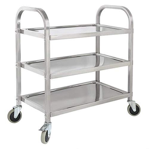 YP 3 Tiers Edelstahl Küchenwagen Rollwagen für Hausgebrauch und Arbeit Haushaltswagen