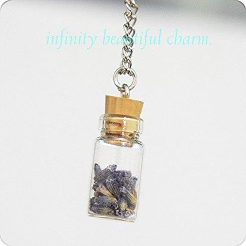 Fascino naturale Mini bottiglia di vetro e fiori secchi Collana pendente-Lavanda-Mori girl--Viola con fiori veri-Dichiarazione-Kid-Naturale Pendente