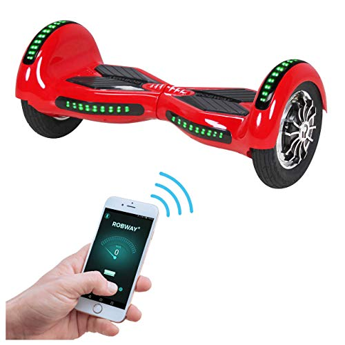 Robway W3 Hoverboard - Das Original - Samsung Marken Akku - Self Balance - 21 Farben - Bluetooth - 2 x 400 Watt Motoren - App - LED (Rot) -