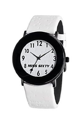 Miss Sixty SQD007 - Reloj para mujer con correa de cuero, color blanco/gris