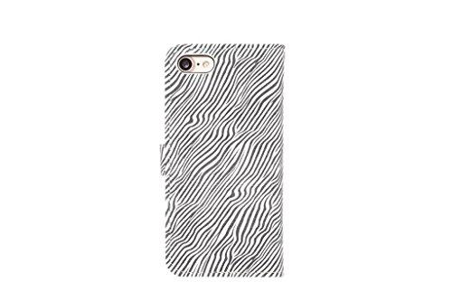 EKINHUI Case Cover Premium Zebra Texture PU Ledertasche Brieftasche Pouch Style Case mit Kickstand und Card Slots für iPhone 7 ( Color : Yellow ) White