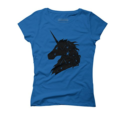 Unicorn Stars Black Women's Graphic T-Shirt - Design By Humans Royal Blue