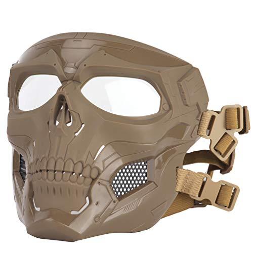SGOYH Airsoft Taktisch Schädel Messenger Masken Schutzausrüstung Vollgesichtsmaske für Halloween Jagd Paintball CS Kriegsspiel (DE)