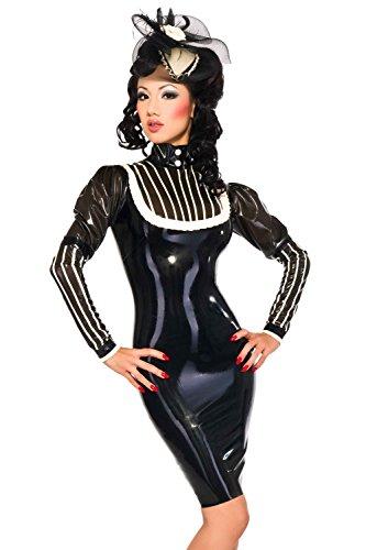 Femme Kostüm Xviii - Westward Bound Marquise De Femme Latex Gummikleid. Schwarz Mit Halb Transparente Schwarze Zierteile UK 18. Cont 46. USA 16.