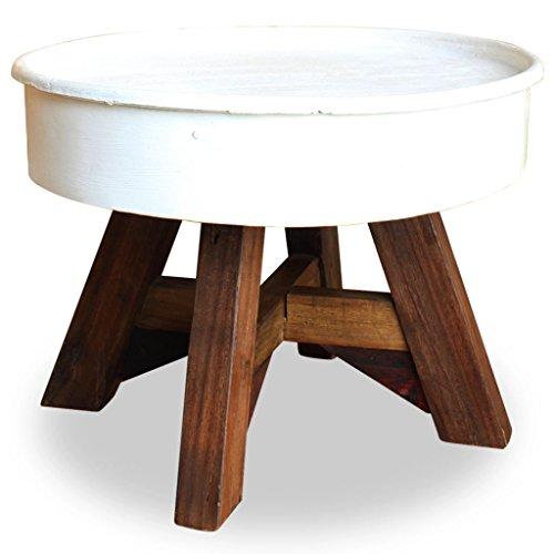 Tidyard- Rund Couchtisch Altholz Massiv Kaffeetisch Beistelltisch Klassischer Stil Wohnzimmertisch 60 x 45 cm Weiß -