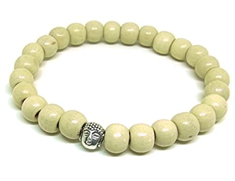 Artisanat Asiatique Tête bouddha Bracelet Mala Bouddhiste Perles en Bois Blanc Élastique