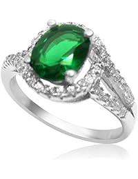 Velini, señoras anillo R3041, 925 plata de ley, ajuste micro pavé, calidad AAA piedras zirconia cúbico con de color verde de piedra de cristal