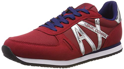 Armani Exchange Damen Microfiber lace up Sneaker, Rot (RED Shoes+Silver Mir 00619), 39 EU