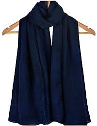Westeng Chales, Bufandas de la Protección Solar,la Bufanda Femenina Grande, el Algodón y el Chal de Lino,Azul oscuro 1PC