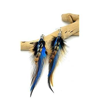 Federohrringe SORA – Ethnic Feder – türkis blauen