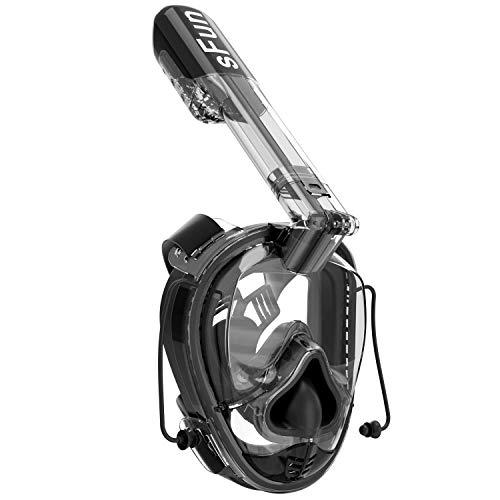 SFUN Snorkel Máscara De Buceo Máscara, Máscara con Gasbag para Snorkel 180 ° Vista Panorámica Sistema de Respiración de 2ª generación Anti-Niebla Un Tamaño para Todos los Adultos y Niños (Negro)