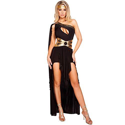 Damen Frauen Halloween Kostüm Europa Und Amerika Eine Schulter Sexy Langen Rock Griechische Göttin Kleid Thema Party Bühnenkleidung,Black,M